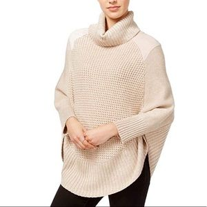 Maison Jules Womens Faux-Suede-Trim Poncho Sweater